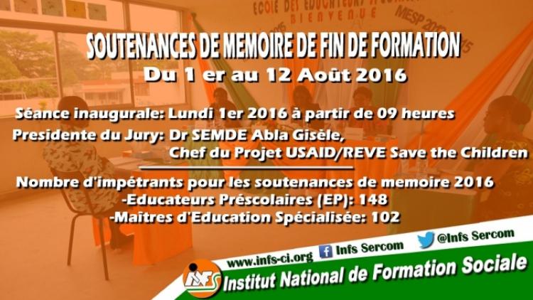 Soutenances de memoire de fin de formation du 1er au 12 Août 2016